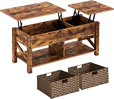 Rolanstar Coffee Table, Lift Top Coffee Table with Rattan Baskets and Hidden Compartment, Retro Central Table with Two-Way Li