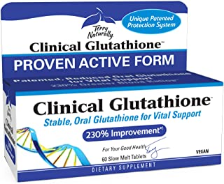 Terry Naturally Clinical Glutathione - 300 mg L-Glutathione - Stable Glutathione Supplement, Antioxidant - 60 Slow-Melt Ta...