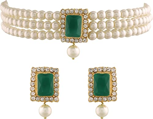 18K Gold Plated Traditional Handcrafted Beaded Emerald Choker with Earrings For Women Girls