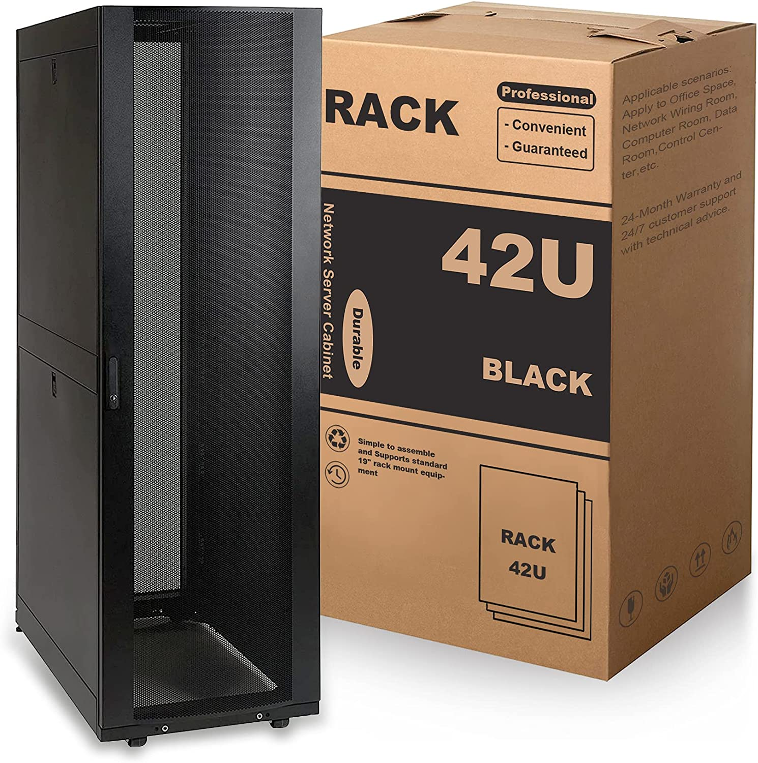 MendyNet 42U Standard Network Server Rack Cabinet with Secure Door, 3000 lb, Apply to Office Space, Network Wiring Room, Computer Room, Data Room,Control Center,etc.