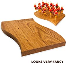 Wooden Food Skewer Holder - Pick Stand and Food Display - Perfect for Catering Events and Cocktail Parties - Curved Board with 45-holes