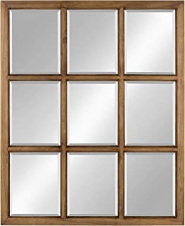 Kate and Laurel Hogan 9 Windowpane Wood Wall Mirror, 26x32, Brown