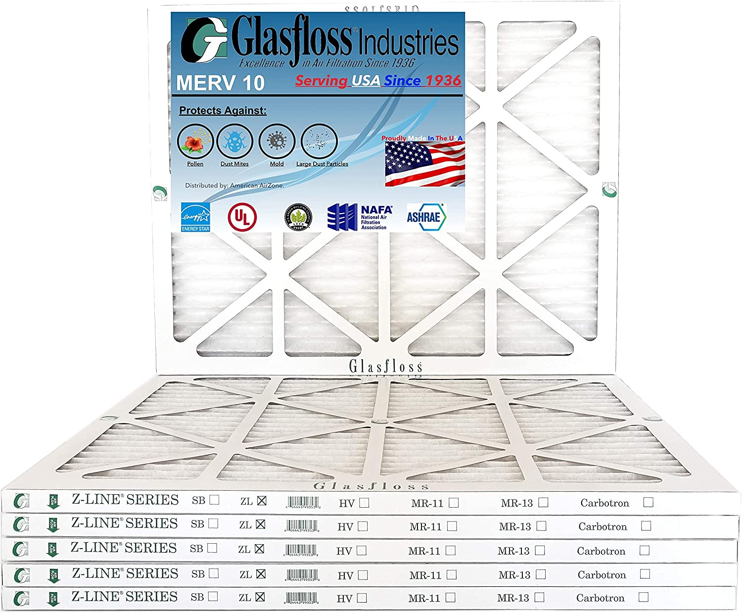 Glasfloss 20x25x1 - 1 Inch MERV 10 Atlanta Mall of Pleated Pack Air Manufacturer direct delivery 6 Fil