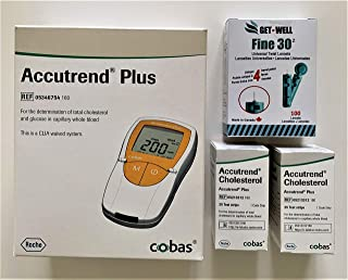 GET•WELL Fine 30g Universal Twist Lancets 100 Ct. - Made in Canada ! ACCUTREND Plus Meter REF 05346754160, 50 ACCUTREND Cholestrol Test Strips, Carrying Case & Lancing Device