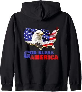 American Bald Eagle USA Stars Stripes Flag Zip Hoodie
