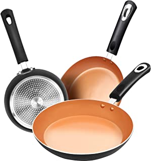 Utopia Kitchen Nonstick Frying Pan Set - 3 Piece Induction Bottom - 8 Inches, 9.5 Inches and 11 Inches- Ceramic Interior -...