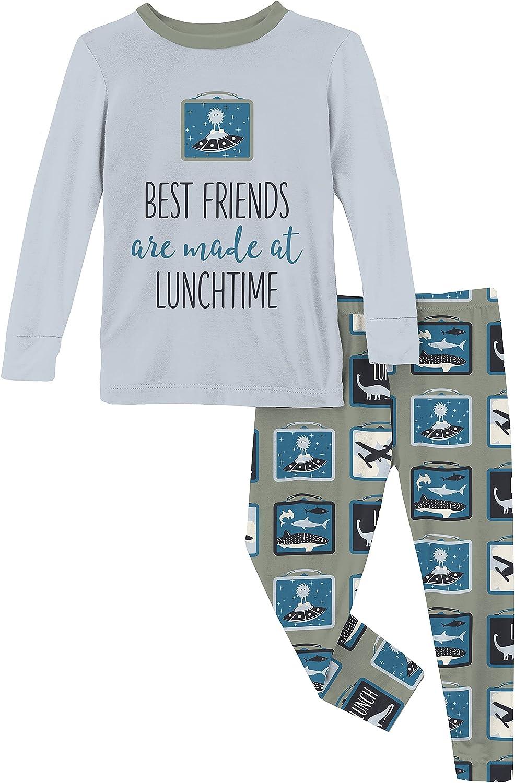 KicKee Pants Graphic Tee Long Sleeve Pajama Set, Baby to Kid Super Soft Fitted Pajamas