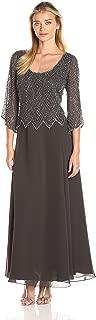 Women's Scoop Neck 3/4 Sleeves Long Dress