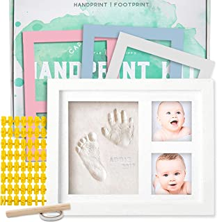 Baby Handprint Kit by Little Hippo! SPECIAL NO MOLD VERSION! Baby Picture Frame (WHITE) & Non Toxic CLAY! Baby Footprint k...