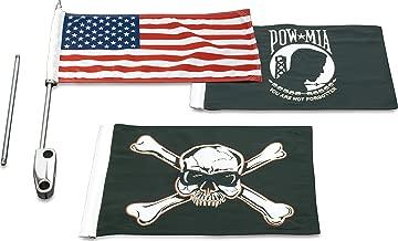 Kuryakyn 4208 Motorcycle Accessory: Side Mount Saddlebag Guard Flag Kit with American Flag, POW/MIA Flag, and Pirate Flag for 1983-2013 Harley-Davidson Motorcycles, Chrome