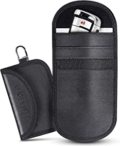 Car Key Signal Blocker Case  AUERVO Faraday Bag Leather Signal Blocking Pouch Bag for Keyless Fobs Mini Large Car RFID Anti Theft Faraday Protection Bags