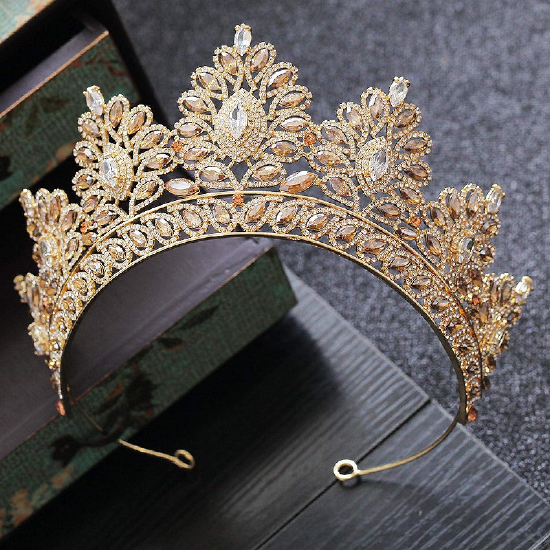Haaraccessoires voor Vrouwen Champagne Strass Barok Bruid Kroon Koreaanse Hoofd Bruiloft Goud Kristal Pageant Tiaras Koningin Goudgroen Goudwit