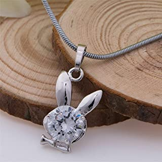 New Rabbit Pendant 18k White Gold Plated Crystal Necklace Chain Silver Charm