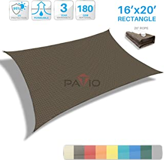Patio Paradise 16' x 20' Brown Sun Shade Sail Rectangle Canopy - Permeable UV Block Fabric Durable Outdoor - Customized Available
