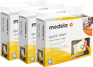 Medela Quick Clean Micro-Steam Bags, 15 Count | Steam Bags for Bottles and Breast Pump Parts, Eliminates 99.9% of Common Bacteria and Germs, Disinfects Most Breast Pump Accessories