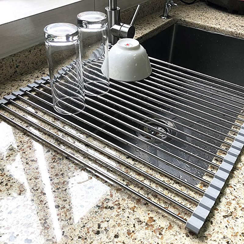 17 7 X 15 5 Large Dish Drying Rack Attom Tech Home Roll Up Dish Racks Multipurpose Foldable Stainless Steel Over Sink Kitchen Drainer Rack For Cups Fruits Vegetables