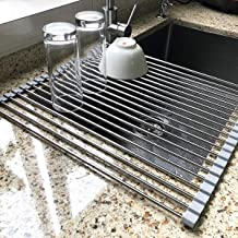 """17.7"""" x 15.5"""" Large Dish Drying Rack, Attom Tech Home Roll Up Dish Racks Multipurpose Foldable Stainless Steel Over Sink K..."""