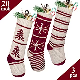 LimBridge Christmas Stockings, 3 Pack 20 inches Large Luxury Knit Knitted Classic Xmas Tree Snowflake Stripe, Rustic Personalized Stocking Decorations for Family Holiday Season Decor