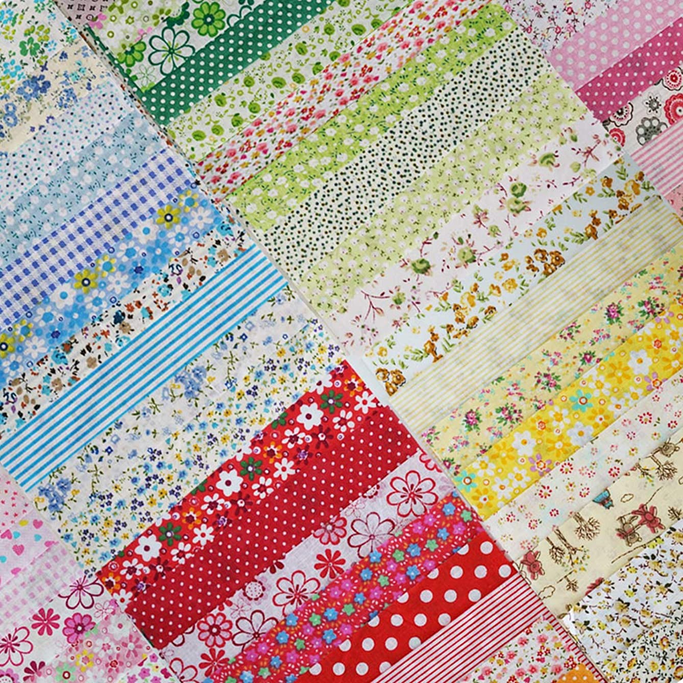 Phantomon 50pcs 8in x 8in Cotton Fabric Craft Linen Square Precut Patchwork Sheets for Quilting, Sewing, Scrapbooking, Simplicity Patterns (20cm x 20cm)