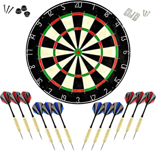 linkvisions Dartboard with Staple-Free Bullseye, 18g Steel Tip Darts Set,12 Steel Tip Darts 18g, Dartboard Mounting Kits I...