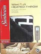 Sunbeam Heated Throw Reversible Grey White Lattice 50
