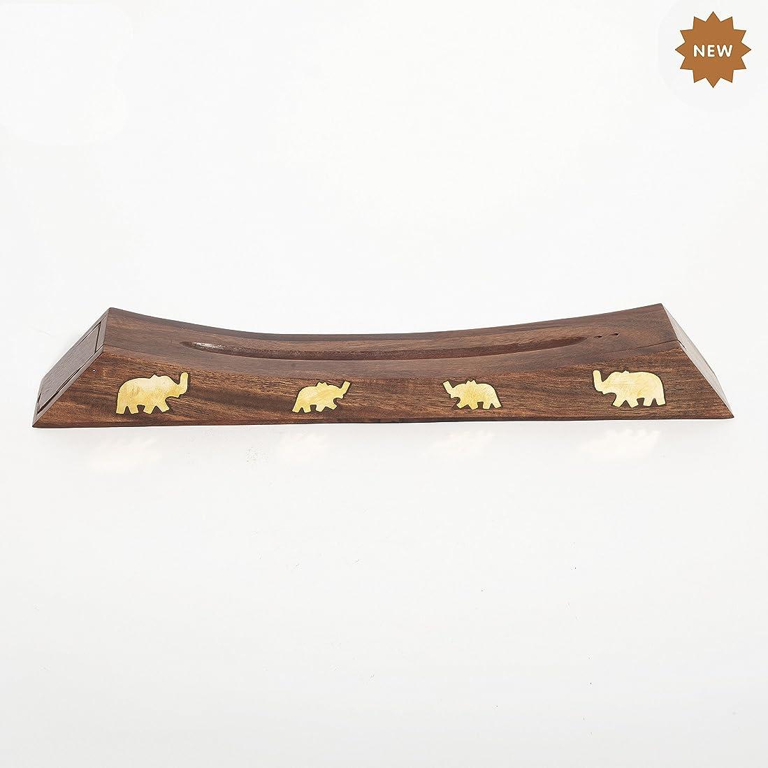 特権的削減ラップトップRusticity 木製お香スタンド お香スティック 収納スロット付き 象の真鍮インレー ハンドメイド 12.4x1.6インチ