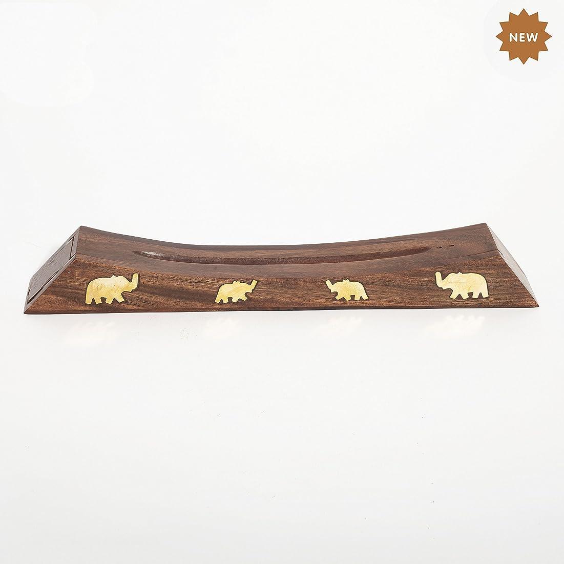 継続中法律行為Rusticity 木製お香スタンド お香スティック 収納スロット付き 象の真鍮インレー ハンドメイド 12.4x1.6インチ