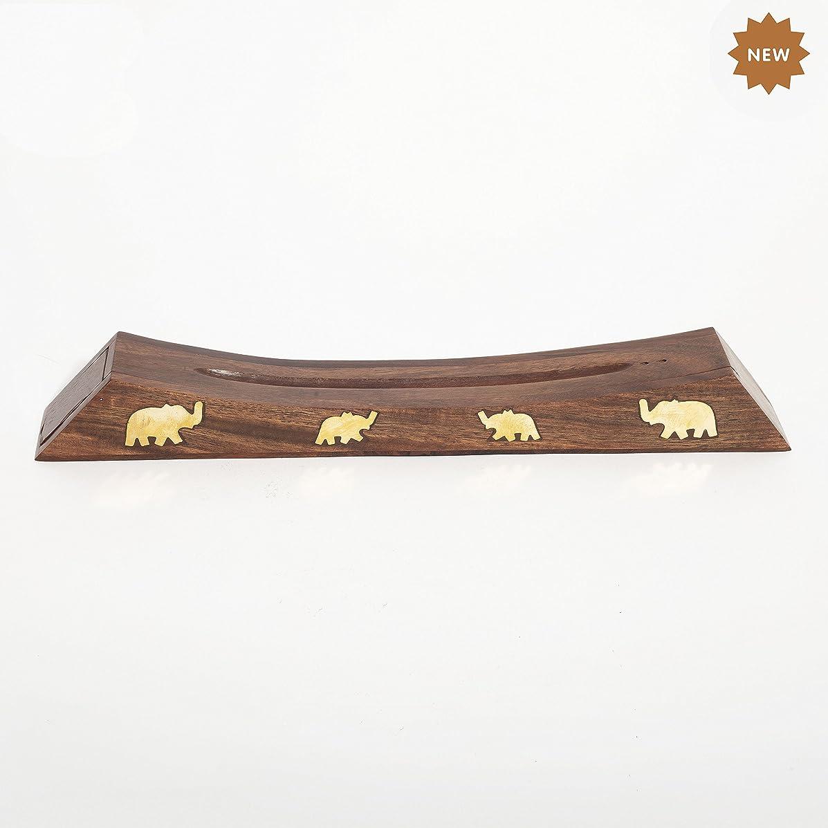 後方に上回る黙Rusticity 木製お香スタンド お香スティック 収納スロット付き 象の真鍮インレー ハンドメイド 12.4x1.6インチ