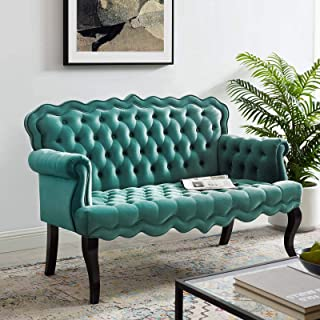 Modway Viola Tufted Velvet Modern Chesterfield Style Settee Loveseat In Teal