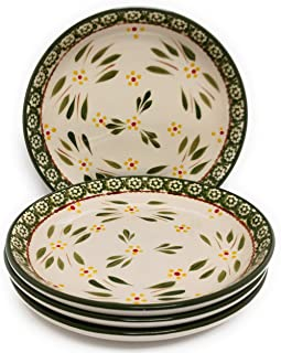 Temp-tations Set of 4 Hand Painted Stoneware Salad/Dessert Plate Choose Your Shape (Cupped Design Old World Green)