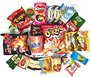 Ultimate Korean Snack Box (25 Count) - Variety Assortment of Korean Snacks, Chips, Cookies, Candies | Nom Nom Box
