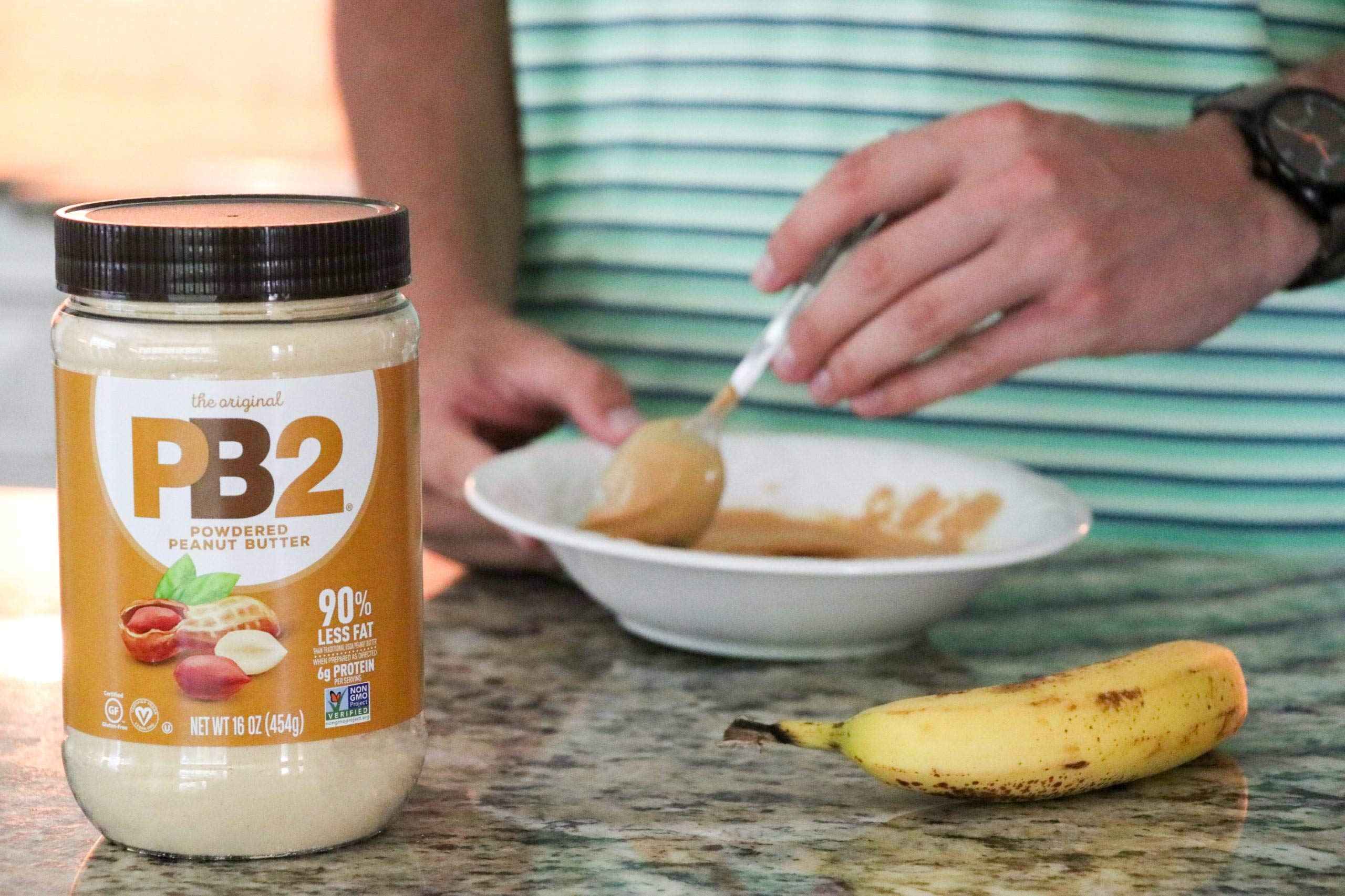 PB2 Original Powdered Peanut Butter - [1 Lb/16oz Jar] 6g of Protein, 90% Less Fat, Certified Gluten Free, Only 60 Calories per Serving, Perfect for Protein Shakes, Smoothies, and Low-Carb, Keto Diets