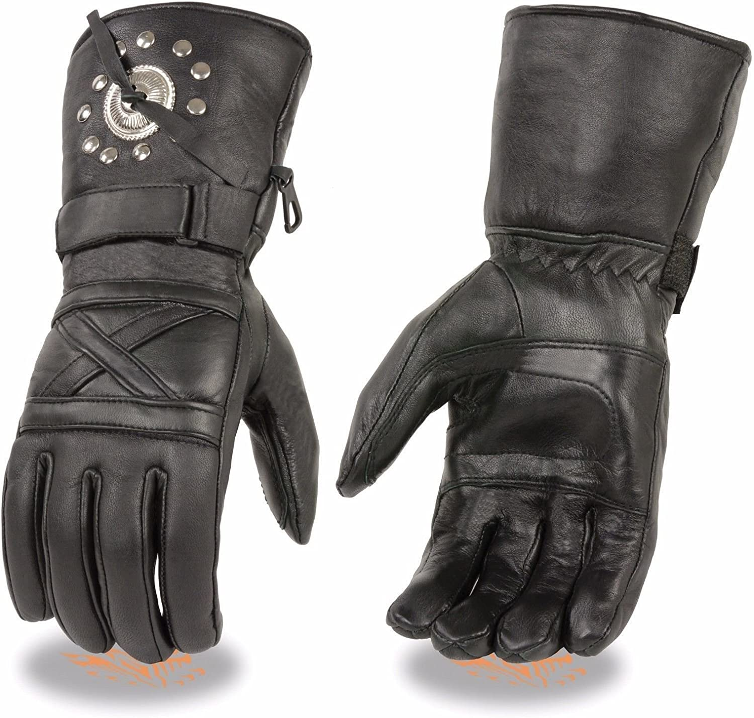 Motorcycle riding Gel palm Blk Leather Gloves Concho stud Thermal Lined Guantle