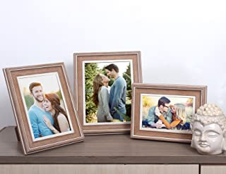 Art Street Earthy Set of 3 photo frame Mix Size (Glass, 4x6, 5x7, 6x8, Brown)