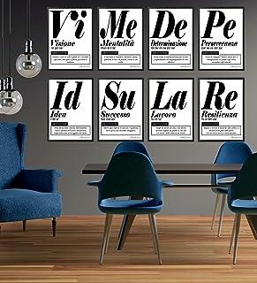 Quadro Moderno Ufficio e Casa - 8 Elementi Motivazionali - Cornice varie dimensioni - Motivazionale Skills Made in Italy M...