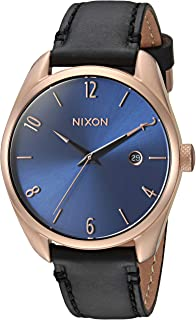 Nixon Women's Bullet Stainless Steel Japanese-Quartz Watch with Leather-Synthetic Strap, Black, 18 (Model: A4732763)