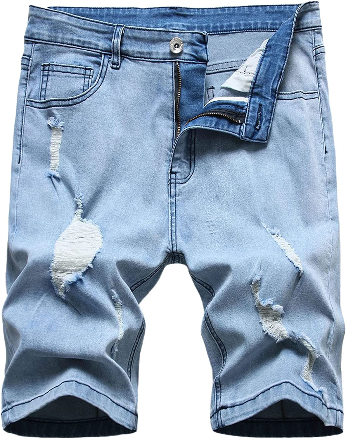 FUNEY Ripped Jeans Shorts for Men Moto Biker Washed Distressed Denim Shorts with Broken Hole,Straight Fit Summer Shorts