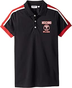 Moschino Kids - Short Sleeve Polo w/ Logo Detail on Front (Big Kids)
