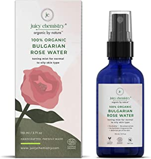 Juicy Chemistry Organic Mist Spray, 110 ml Toner for Moisturizing and Hydrating Skin, Bulgarian Rose Herbal Face Mist for ...
