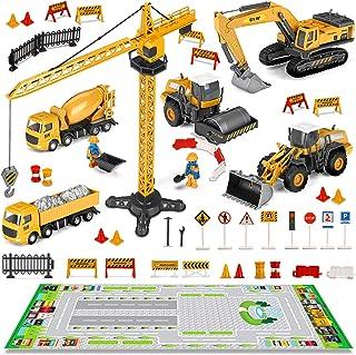 FUNTOK Lot de Camion de Construction, Véhicule Chantier et Tapis Véhicules de Construction Grue à Tour Excavatrice Rouleau...