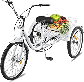 Happybuy 24 Inch Adult Tricycle Series 7 Speed 3 Wheel Bike Adult Tricycle Trike Cruise Bike Large Size Basket for Recreation Shopping Exercise Men's Women's Bike