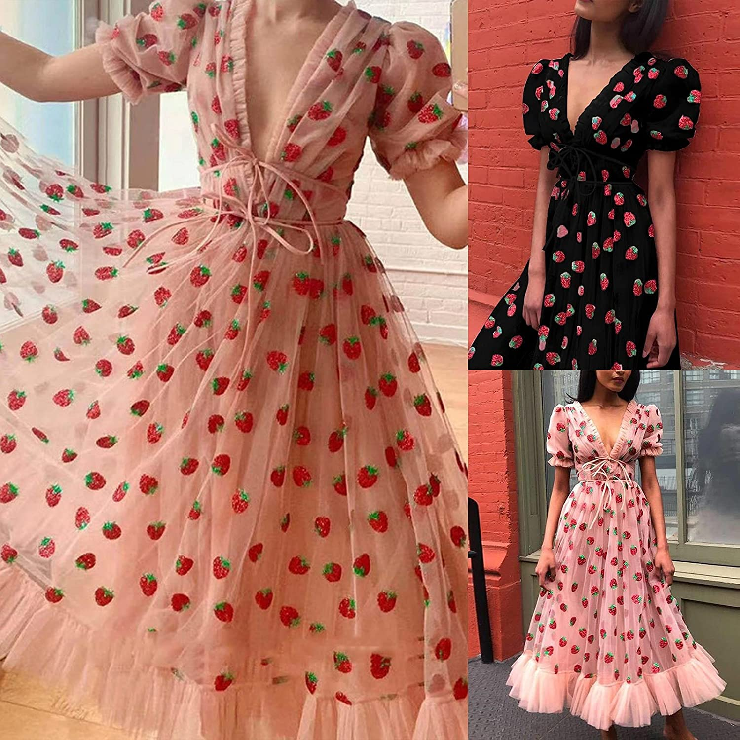 Basysin Strawberry Dress Maxi Plus Size Summer Dresses for Women 2021 Sexy Casual Sundress for Wedding Guest