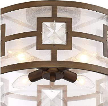 """Deco Bling Modern Ceiling Light Semi Flush Mount Fixture Warm Gold 16"""" Wide Organza Drum Shade Crystal Accents for Bedroom Kitchen Living Room Hallway Bathroom - Possini Euro Design"""