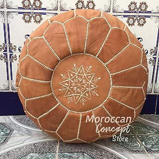 Moroccan Poufs Leather Luxury Ottomans Footstools Tan Unstuffed