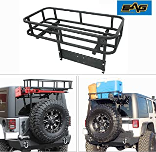 EAG Black Steel Rear Cargo Basket for Rear Bumper with Tire Carrier Fit for 87-18 Jeep Wrangler YJ TJ JK