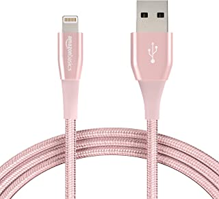 AmazonBasics Apple Certified Double Nylon Braided USB A Cable with Lightning Connector, Premium Collection - 6-Foot, Rose ...