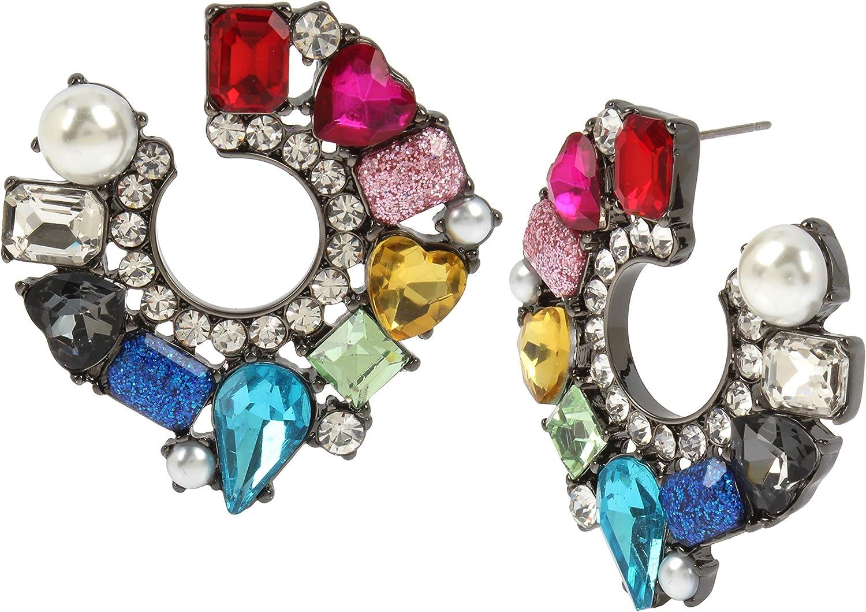 Betsey Johnson Stone Hoop Earrings