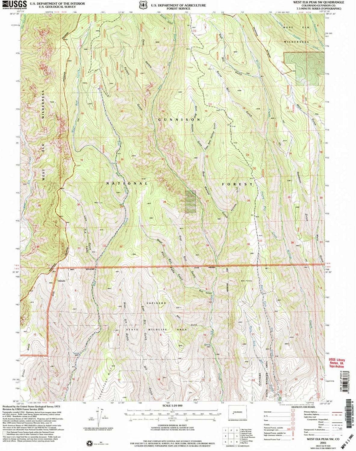 West Elk Peak SW CO topo map, 1 24000 Scale, 7.5 X 7.5 Minute, Historical, 2001, Updated 2004, 26.8 x 22.1 in