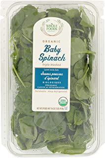 Whole Foods Market, Organic Packaged Salads, Baby Spinach (Triple-Washed), 16 Ounce