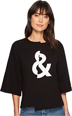 7 For All Mankind 3/4 Sleeve Splice Crop Tee